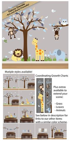 Jungle Wall Decal - Nursery Decor - Tree Wall Decal - Zebra Lion Giraffe Elephant and Monkeys - S01 C17 A01