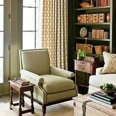 "The Study | Designer Tip: ""Fill your bookcases with as many books as you can get in there, and stay away from using too many small knickknacks."" -Designer Phoebe Howard 