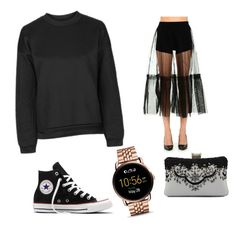 """""""Untitled #30"""" by everybodylovesblk on Polyvore featuring Topshop, MSGM, Converse and FOSSIL"""