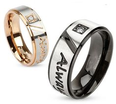 """Stainless Steel Two Tone """"Always Together"""" Engraved Rin. Starting at $5 on Tophatter.com!"""
