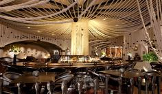 The gorgeous bar at the Javier's Las Vegas location features an amazing rope canopy