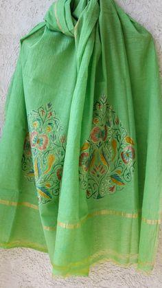 Benarasi Handpainted Apple Green Cotton Dupatta with Intricate Zari Motif