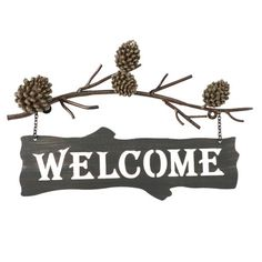 Greet guests with a hint of woodland charm with this delightful sign, showcasing a pine branch design and cutout typography.