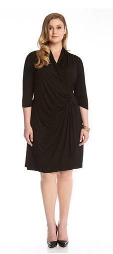 SPECIAL OCCASION PLUS SIZE 3/4 SLEEVE V NECK BLACK CASCADE WRAP DRESS #Special_Occasion #Karen_Kane #Black #Cascade #Wrap #Plus_Size_Dresses
