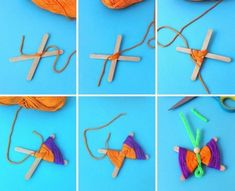 Butterflies tinker with children - 24 great ideas for a spring decoration and crafts Yarn Crafts For Kids, Crafts For Girls, Craft Stick Crafts, Diy For Kids, Diy And Crafts, Arts And Crafts, Creative Crafts, Summer Crafts, Holiday Crafts