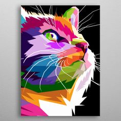close up of face cat on geometric pop art metal poster Pop Art Posters, Cat Posters, Poster Prints, Arte Pop, Colorful Paintings, Animal Paintings, Illustration Pop Art, Poster Color Painting, Personalized Wall Decor