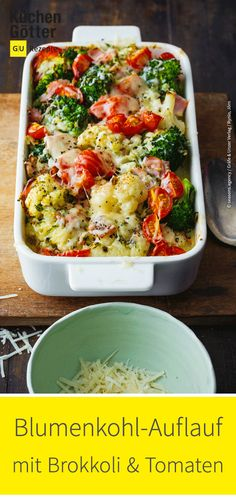 Cauliflower and broccoli bake - Easy recipe for casserole. - Cauliflower and broccoli bake – Easy recipe for casserole. Broccoli Bake, Broccoli Casserole, Casserole Recipes, Easy Baking Recipes, Easy Healthy Recipes, Easy Meals, Healthy Meals, Beef Recipes, Vegetarian Recipes