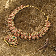 The Heritage Line, Ganjam necklace. Rubies, emeralds, gold beads and diamonds set in 22k yellow gold.