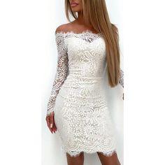 Fashion Women Ladies Elegant Long Sleeve Lace Floral Off Shoulder Dress  Bodycon Slim Solid White Casual cecb66f5f