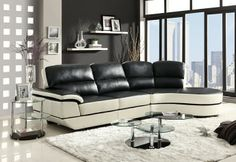 "Reese Contemporary Style Black and White Bonded Leather Match Sectional Sofa. Wrapped in black and white Bonded Leather Match, the soft curves of the arm and base pair with the high contrasting colors to make a stunning sectional. This Reese Sectional Sofa measures: 129"" x 66.5"" x 40""H. SKU 	CST503630"