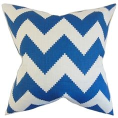 """Add a graphic punch to your interiors with this throw pillow. This 18"""" pillow features a zigzag pattern in blue and white hues. Adorn your living room or bedroom with this playful toss pillow. Great for indoor use, this accent piece is made of 100% linen material. Crafted in the USA. $55.00  #zigzagpillow  #pillows  #homedecor  #interiorstyling  #indoorpillow #throwpillow  #bueandwhite"""