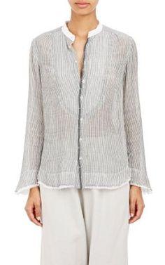 Pas de Calais Mandarin Collar Gauze Shirt at Barneys New York