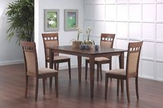 5pcs Contemporary Walnut Finish Dining Table  4 Chairs Set >>> Want additional info? Click on the image.