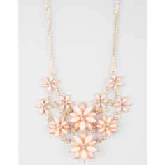 Full Tilt 2 Row Facet Flower Statement Necklace ($9.99) ❤ liked on Polyvore featuring jewelry, necklaces, coral, statement necklace, flower necklace, coral necklace, blossom jewelry and full tilt