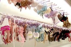 Lingerie Obsessed: What I'm developing my wardrobe to look like. Lingerie Storage, Clothing Boutique Interior, Pastel Party, Lace Silk, Pretty Pastel, Beautiful Lingerie, Pretty Little, Girly Things, Fancy