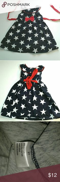 Patriotic dress Cre8ions (creations) dress size 3t Red tie, white stars on a blue dress Super cute on and perfect for the 4th!  Pet free smoke free home  A43 cre8ions Dresses Casual