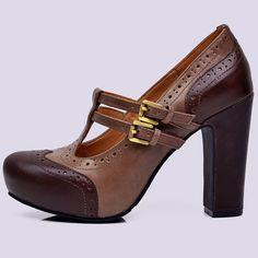 Platform Pumps Mary Jane Dress Brown Color Block Genuine Leather Hidden Platfoem Chunky Thick High Heels Belt Buckle Shoes Women