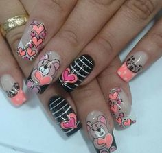 Valentine Nail Art, Valentines, Mani Pedi, Pedicure, Cute Nails, Pretty Nails, Types Of Nails, Shellac, Spring Nails