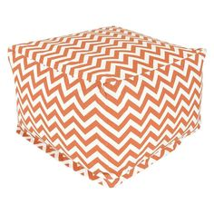 Burnt Orange and White Chevron Stripe Bean Bag Chair Ottoman - Made in USA