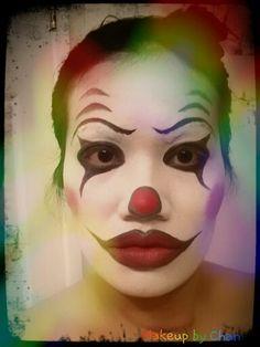 Clown makeup, halloween, rainbow
