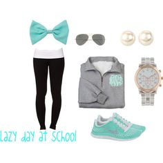 """""""Lazy day at school"""" by morganbentley on Polyvore....minus the bow and I LOVE this esp for days where I want something comfy to wear to class after working all day!"""