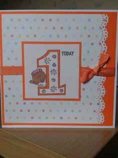 1st birthday card Baby Birthday Card, First Birthday Cards, Bday Cards, Birthday Messages, Scrapbook Cards, Scrapbooking, Personalized Cards, Owl Card, Milestone Birthdays