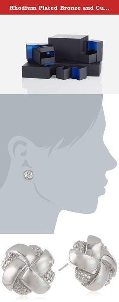 Rhodium Plated Bronze and Cubic Zirconia Woven Silver Colored Knot Stud Earrings. Imported.