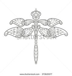 Vector illustration decorative dragonfly on white background. Fashion trend of adult coloration. Insect vector with elements oriental motif Turkish cucumber. Black and white. Modern vector design.