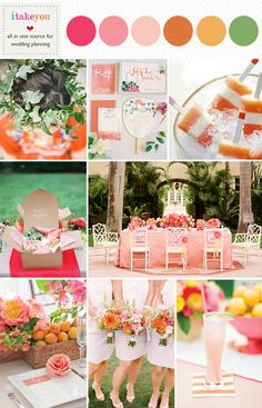Summer Wedding palette,orange pink yellow wedding colours board | http://www.itakeyou.co.uk/