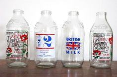 British milk bottles (Union Jack flag)