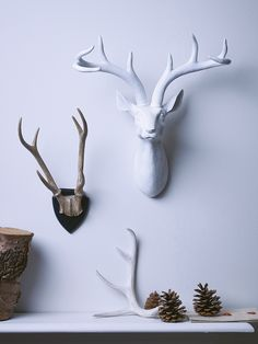 Make a feature of any wall with our majestic resin deer head. With impressive detailing, elegant antlers and finished in matt white, our lightweight deer head will suit any interior and looks brilliant at Christmas adorned with baubles or tangled in ou