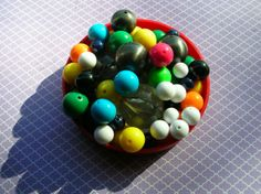 Bubble Gum Bead Lot  Colorful Plastic Beads by 2VintageGypsies, $3.95