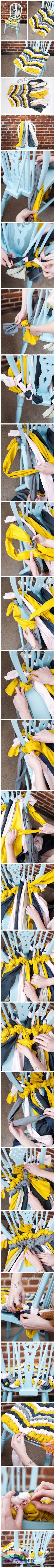 "DIY ""friendship bracelet"" braid (floor runner instead of chair cushion?) Love this idea..."