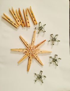 Clothes peg snowflake, springs made into stars Felt Christmas Decorations, Christmas Crafts, Christmas Ornaments, Homemade Christmas Gifts, Christmas Snowflakes, Snow Flakes Diy, Clothes Pegs, Felt Ornaments, Hobbies And Crafts