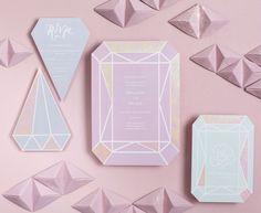 Iridescent Pastel Gem-Inspired Wedding Invitations by BerinMade