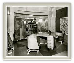 Vintage photo of a sophisticated Art Deco office. Art Deco Room, Art Deco Era, Art Nouveau, Art Deco Zimmer, 1920s Interior Design, Muebles Art Deco, Estilo Art Deco, Art Deco Buildings, Art Deco Furniture