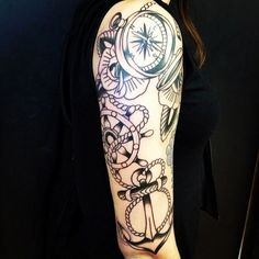 Compass ship wheel anchor tattoo on sleeve. Find and save ideas about Compass ship wheel anchor tattoo on sleeve on Tattoos Book. More than FREE TATTOOS Marine Tattoos, Navy Tattoos, Trendy Tattoos, Popular Tattoos, Tatoos, Half Sleeve Tattoos Black, Sleeve Tattoos For Women, Tattoo Sleeves, Women Sleeve