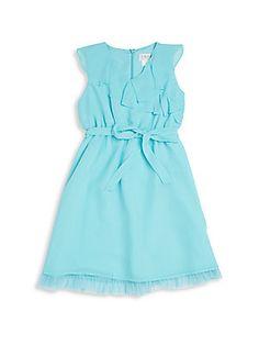 Girl's Ruffle-Detail Dress- in navy blue Saks off 5th  $24.99