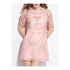 SheIn(sheinside) Pink Sheer Gauze Embroidered Shift Dress ($80) ❤ liked on Polyvore featuring dresses, pink, short pink dress, shift dresses, sheer dress, sheer sleeve dress and embroidery dress