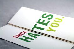 Santa Hates You - Funny Christmas Card - Foldout Greeting card. $5.00, via Etsy.