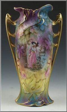 Lovely RS Prussia Handled Vase w Scene   eBay