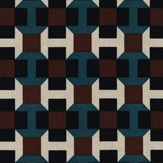 Taken from a tie design by Philippe Mouquet, Pavage features strongly contrasting graphics in a geometric pattern. Printed on a new cotton-linen fabric, it echoes Parisian pavement. The average scale and the very contrasted colours give strength to this very geometric design. Motifs Textiles, Textile Patterns, Print Patterns, Floral Patterns, Textile Design, 90s Pattern, Pattern Art, Pattern Design, Geometric Fabric