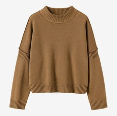 Boxy, slightly cropped, Guernsey-style pullover in a springy, warm yet light wool/cotton. Ribbed high neck with rolled edge. Long sleeves.