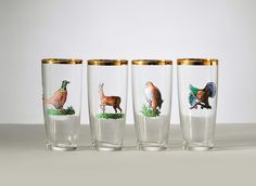 Vintage Drinking Glass Set with Wildlife Deer Turkey by fallaloft