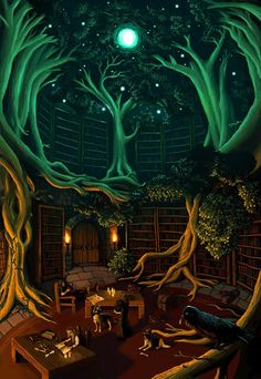 "Amazing libraries, if it were real. Reminds me, a little, of the ""Salamander Room"" children's book."