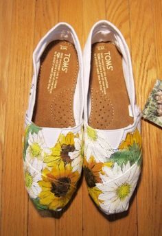 hand-painted TOMS with sunflowers & daisies