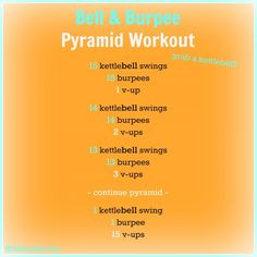 Burpee & Bell Pyramid Workout (Nutrition Nut on the Run) 1 Hour Workout, Sweat Workout, Fitness Nutrition, Fitness Tips, Gym Workouts, At Home Workouts, Pyramid Workout, Kettlebell Training, Blood Sweat And Tears