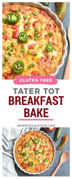 Low Carb Tater Tot Breakfast Bake made dairy free and gluten free. Low Carb Tater Tot Breakfast Bake made dairy free and gluten free. Tater Tot Breakfast, Low Calorie Breakfast, Healthy Low Calorie Meals, Breakfast Bake, Breakfast Casserole, Healthy Foods, Healthy Eating, Brunch Ideas For A Crowd, Breakfast For A Crowd