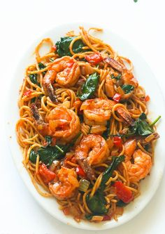 Spicy shrimp tomato spinach pasta- An Easy 30 minute weeknight spaghetti dinner that delivers a huge punch of flavor with no cream and just a handful of ingredients: Spicy Shrimp Pasta, Shrimp Spaghetti, Spaghetti Dinner, Shrimp Pasta Recipes, Seafood Recipes, Appetizer Recipes, Vegetarian Recipes, Cooking Recipes, Healthy Recipes