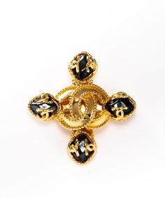 Chanel: gold and stone CC vintage brooch